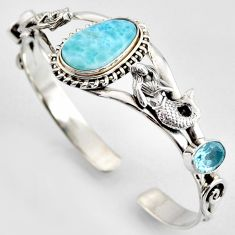 22.25cts natural blue larimar 925 silver fairy mermaid adjustable bangle r3730