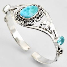 18.03cts natural blue larimar topaz 925 silver elephant adjustable bangle r3731