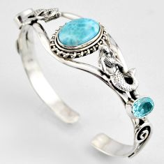 15.04cts natural blue larimar 925 silver fairy mermaid adjustable bangle r3732