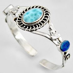 13.64cts natural blue larimar 925 silver buddha charm adjustable bangle r3733