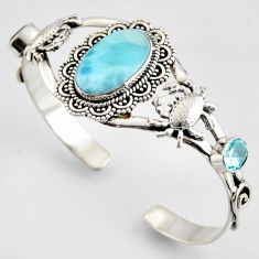 20.72cts natural blue larimar topaz 925 silver crab adjustable bangle r3734
