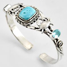 12.41cts natural blue larimar topaz 925 silver crab adjustable bangle r3735