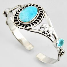 16.21cts natural blue larimar topaz 925 silver elephant adjustable bangle r3737