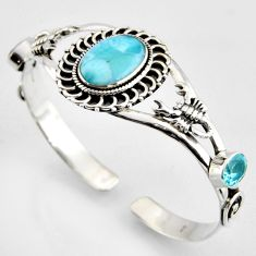 16.38cts natural blue larimar topaz 925 silver scorpion adjustable bangle r3738