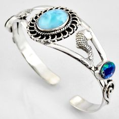 925 silver 16.21cts natural blue larimar fish charm adjustable bangle r3739