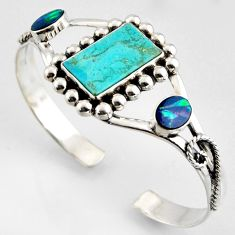 17.33cts green arizona mohave turquoise 925 silver adjustable bangle r3740