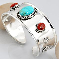 16.01cts blue arizona mohave turquoise 925 silver adjustable bangle r3749