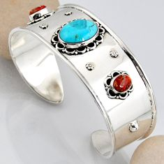 16.11cts blue arizona mohave turquoise 925 silver adjustable bangle r3750