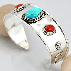 17.35cts blue arizona mohave turquoise 925 silver adjustable bangle r3753