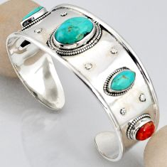 26.52cts blue arizona mohave turquoise 925 silver adjustable bangle r3754