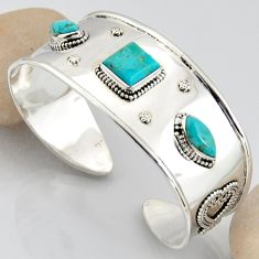 925 silver 15.53cts blue arizona mohave turquoise adjustable bangle r3756