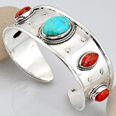 30.31cts blue arizona mohave turquoise 925 silver adjustable bangle r3757