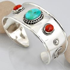925 silver 17.68cts blue arizona mohave turquoise fancy adjustable bangle r3759