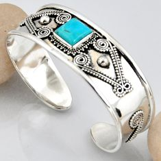 925 silver 5.75cts blue arizona mohave turquoise adjustable bangle r3763