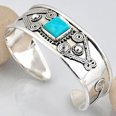 5.62cts blue arizona mohave turquoise 925 silver adjustable bangle r3764