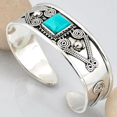 925 silver 6.49cts blue arizona mohave turquoise square adjustable bangle r3765