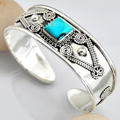 5.67cts blue arizona mohave turquoise 925 silver adjustable bangle r3766