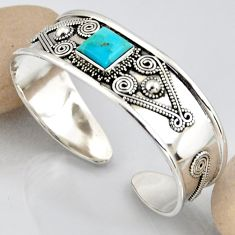 925 silver 5.57cts blue arizona mohave turquoise square adjustable bangle r3768