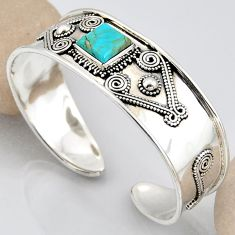 4.97cts blue arizona mohave turquoise 925 silver adjustable bangle r3770