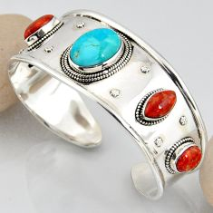 925 silver 30.31cts blue arizona mohave turquoise adjustable bangle r3771