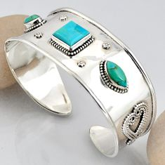 15.74cts blue arizona mohave turquoise 925 silver adjustable bangle r3772