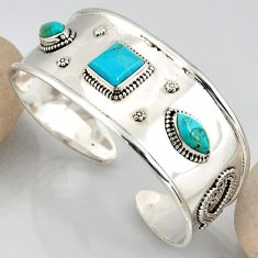 925 silver 16.72cts blue arizona mohave turquoise adjustable bangle r3774