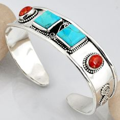 15.18cts blue arizona mohave turquoise 925 silver adjustable bangle r3776
