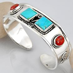 16.02cts blue arizona mohave turquoise 925 silver adjustable bangle r3777