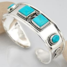 16.11cts blue arizona mohave turquoise 925 silver adjustable bangle r3779