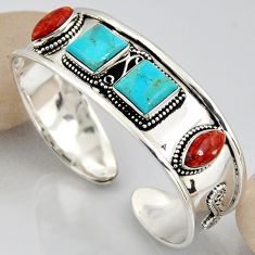 25.08cts blue arizona mohave turquoise 925 silver adjustable bangle r3780