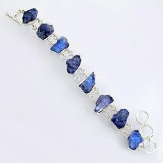72.06cts natural blue tanzanite rough 925 sterling silver bracelet jewelry r3801