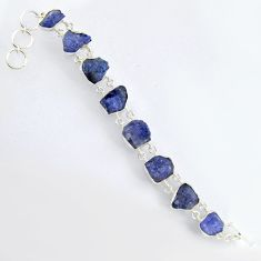 68.20cts natural blue tanzanite rough 925 sterling silver bracelet jewelry r3802