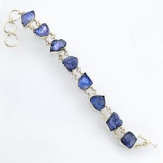 56.91cts natural blue tanzanite rough 925 sterling silver bracelet jewelry r3804