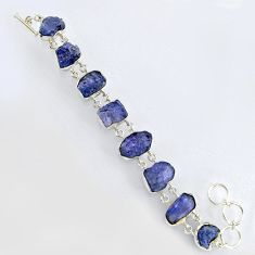 72.06cts natural blue tanzanite rough 925 sterling silver bracelet jewelry r3805