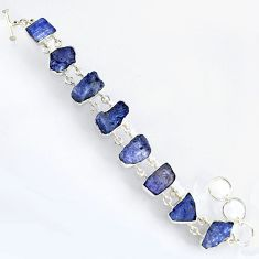 925 sterling silver 63.40cts natural blue tanzanite rough bracelet jewelry r3806
