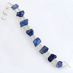 73.60cts natural blue tanzanite rough 925 sterling silver bracelet jewelry r3807