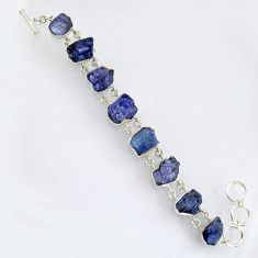 71.50cts natural blue tanzanite rough 925 sterling silver bracelet jewelry r3808