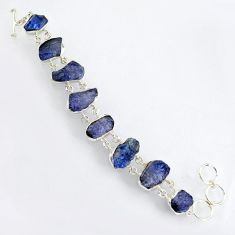 67.58cts natural blue tanzanite rough 925 sterling silver bracelet jewelry r3810