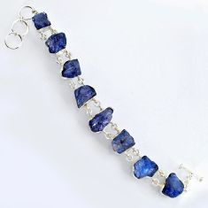 67.20cts natural blue tanzanite rough 925 sterling silver bracelet jewelry r3811