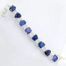 56.91cts natural blue tanzanite rough 925 sterling silver bracelet jewelry r3814