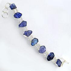 925 sterling silver 63.40cts natural blue tanzanite rough fancy bracelet r3815