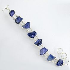 72.95cts natural blue tanzanite rough 925 sterling silver bracelet jewelry r3816