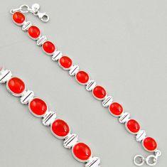 39.42cts natural orange cornelian (carnelian) 925 silver tennis bracelet r4222