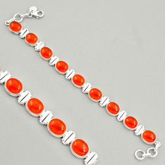 38.31cts natural orange cornelian (carnelian) 925 silver tennis bracelet r4230