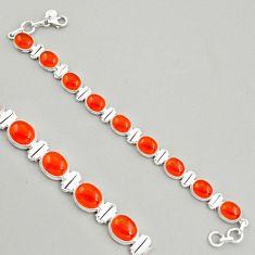 38.68cts natural orange cornelian (carnelian) 925 silver tennis bracelet r4233