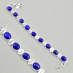 925 silver 39.01cts natural blue lapis lazuli oval tennis bracelet jewelry r4235