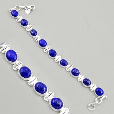 40.77cts natural blue lapis lazuli 925 sterling silver tennis bracelet r4237