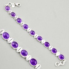 39.48cts natural purple amethyst 925 sterling silver tennis bracelet r4242