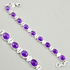 39.01cts natural purple amethyst 925 sterling silver tennis bracelet r4243