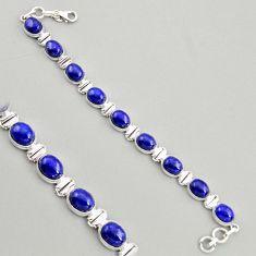 39.46cts natural blue lapis lazuli 925 sterling silver tennis bracelet r4248
